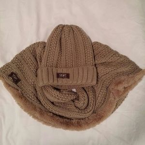 UGG. Light brown 2 peace infinity scarf and hat